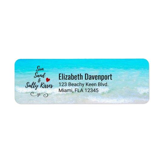 Sable de Sun et plage tropicale de baisers salés Étiquette D'adresse Retour