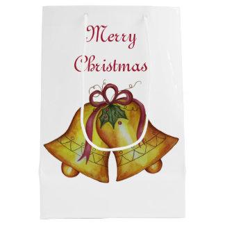 Sac actuel de cadeau de Bells de Joyeux Noël de