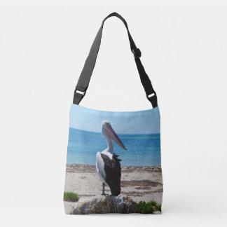 Sac Ajustable Pelican_On_Beach_Rock, _Full_Print_Cross_Body_Bag.