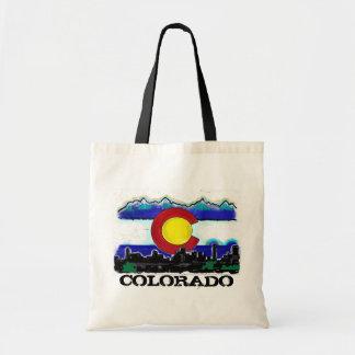 Colorado flag denver skyline artsy bag