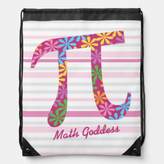 Sac Avec Cordons Cadeau rose rayé de symbole du ressort pi de maths