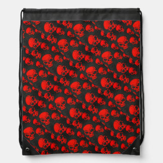 Sac Avec Cordons Crânes rouges sur le noir
