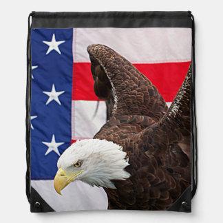 Sac Avec Cordons Eagle chauve avec le drapeau américain
