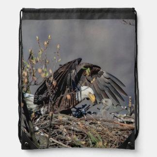 Sac Avec Cordons Eagle chauve avec son bébé