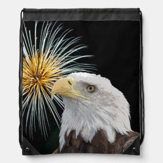 Sac Avec Cordons Eagle chauve et feux d'artifice