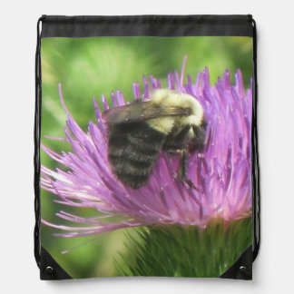 Sac Avec Cordons Gaffez l'abeille sur le chardon