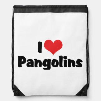 Sac Avec Cordons J'aime des Pangolins de coeur - amant de Pangolin
