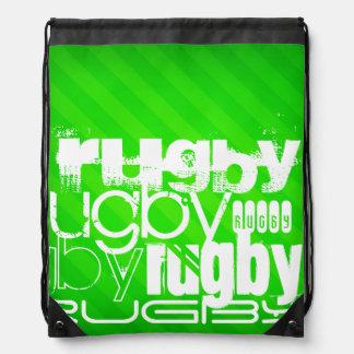 Sac Avec Cordons Rugby ; Rayures vertes au néon