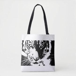 Sac avec le tigre noir et blanc d'impression