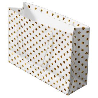 Sac blanc de cadeau de pois de scintillement d'or