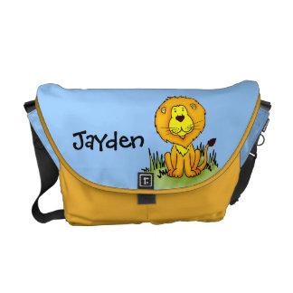 Sac bleu de lion et jaune nommé d'animal d'enfants sacoches