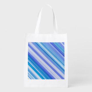 Sac bleu réutilisable de rayure sac réutilisable