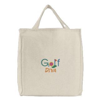 Sac Brodé Jouer au golf drôle de diva de golf