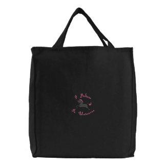 Sac Brodé Licorne rose et noire Fourre-tout