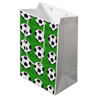 Sac Cadeau Moyen Ballons de football sur la pelouse