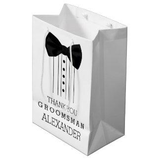 Sac Cadeau Moyen Chemise noire de smoking de cravate d'arc de