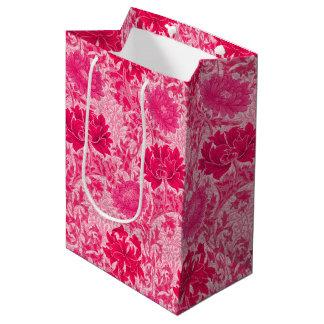 Sac Cadeau Moyen Chrysanthèmes de William Morris, rose de fuchsia