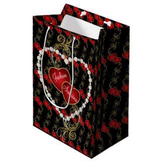 Sac Cadeau Moyen Coeurs rouges d'or de véritable amour