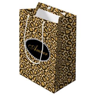 Sac Cadeau Moyen Diamants d'empreinte de léopard et monogramme