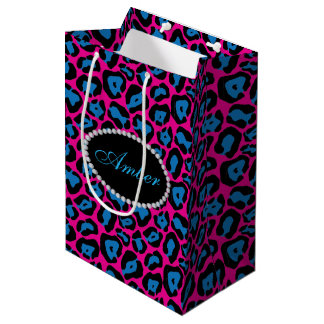 Sac Cadeau Moyen Diamants roses et bleus d'empreinte de léopard et