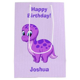 Sac Cadeau Moyen Dinosaure pourpre mignon de brontosaure de bébé