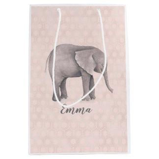 Sac Cadeau Moyen Fille d'éléphant avec l'arrière - plan géométrique