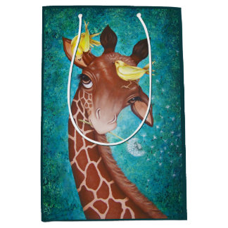 Sac Cadeau Moyen Girafe mignonne avec des oiseaux