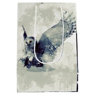 Sac Cadeau Moyen Hibou merveilleux dans l'aquarelle