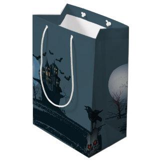 Sac Cadeau Moyen Maison hantée, squelette, arbre mort, lune,