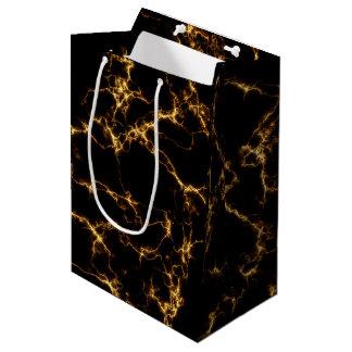 Sac Cadeau Moyen Marbre élégant style3 - or noir