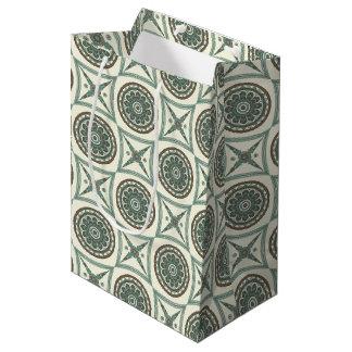 Sac Cadeau Moyen Médaillon et carré floraux géométriques bleus à la