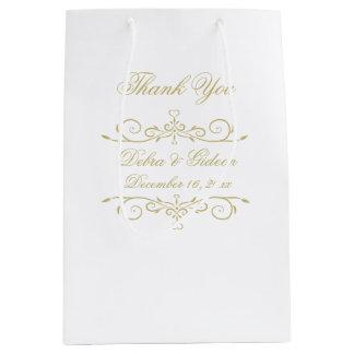 Sac Cadeau Moyen Merci de monogramme de blanc élégant et d'or