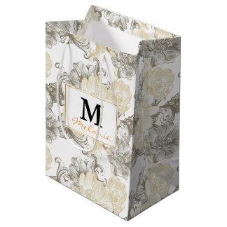 Sac Cadeau Moyen Motif floral beige victorien vintage de vignes