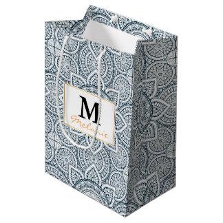 Sac Cadeau Moyen Motif floral blanc bleu géométrique de mandala