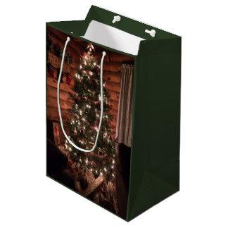 Sac Cadeau Moyen Noël de cabine de rondin