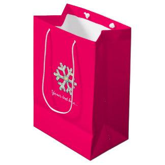 Sac Cadeau Moyen Noël de rose de flocon de neige de roses indien