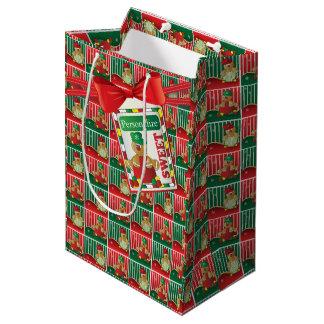 Sac Cadeau Moyen Noël mignon du garçon   de pain d'épice