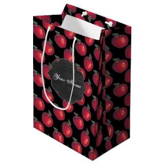 Sac Cadeau Moyen Noir rouge de pommes