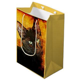 SAC CADEAU MOYEN OLIVE DE CAT NOIR