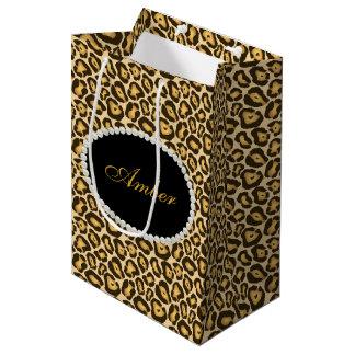 Sac Cadeau Moyen Perles d'empreinte de léopard et monogramme nommé