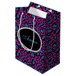 Sac Cadeau Moyen Perles roses et bleues d'empreinte de léopard et