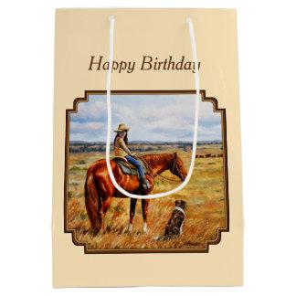 Sac Cadeau Moyen Petite cow-girl sur le jaune de cheval de bétail