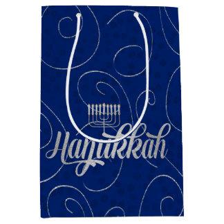 Sac Cadeau Moyen Remous bleus et argentés de Hanoukka