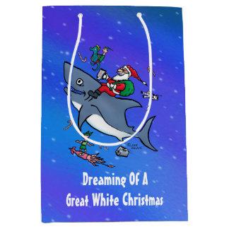 Sac Cadeau Moyen Rêver d'une grande coutume de Noël de requin blanc