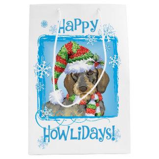 Sac Cadeau Moyen Teckel à poils durs heureux de Howlidays