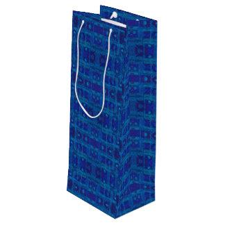 Sac Cadeau Pour Bouteille Armure bleue, motif géométrique abstrait, tiré par