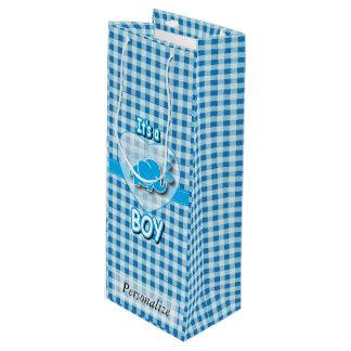 Sac Cadeau Pour Bouteille Éléphant de bébé de plaid de bleus layette et de