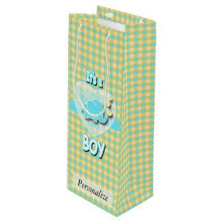 Sac Cadeau Pour Bouteille Éléphant de bébé jaune et bleu de bébé