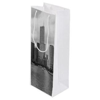 Sac Cadeau Pour Bouteille Gamme de gris de la rivière Chicago de tour