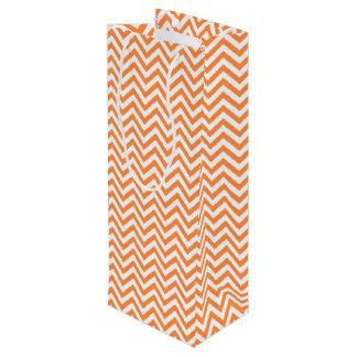 Sac Cadeau Pour Bouteille Le zigzag orange et blanc barre le motif de